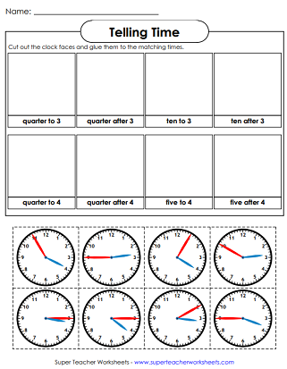 Time Cut and Glue Worksheet