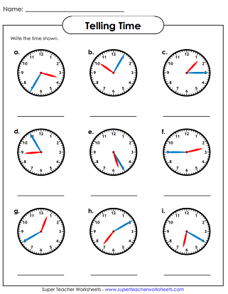 Telling Time Worksheet (Nearest Five Minutes)