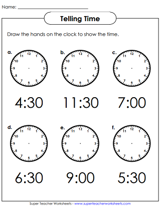 Time Worksheets (Hours & Half Hours)