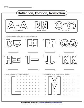 Reflection Translation And Rotation Worksheets