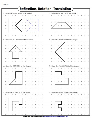 translate rotation reflection drawing - Reflection Worksheet