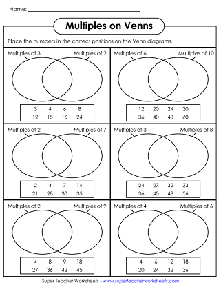 Math Worksheets - Venn Diagrams