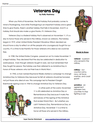 Veteran's Day Worksheet (Article)