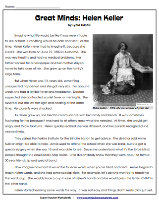 Women's History (Helen Keller) Worksheets