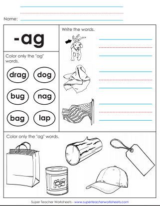 Word Family Worksheets (-ag)