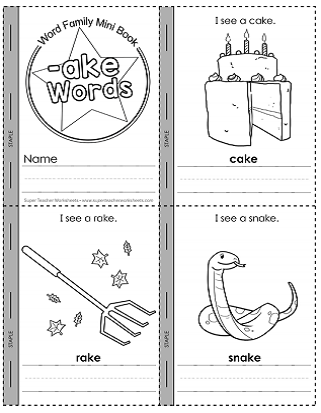 Word Family Printables Ake Words