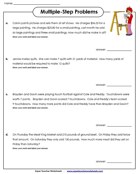 multiplestep word problem worksheets multistep word problems