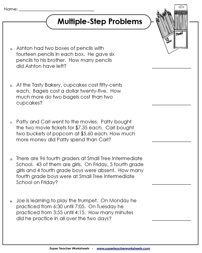 MultipleStep Word Problem Worksheets – 4th Grade Math Problems Worksheets