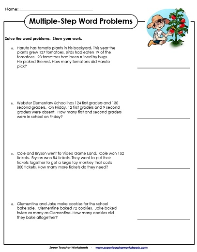 2nd grade math word problem worksheets The word problems on these printable worksheets contain multiple-step  2nd  through 4th grades  visit the full math index to find them all, sorted by topic.